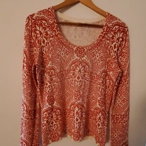 Charter Club Long Sleeve Red/White Blouse - M